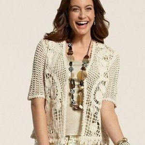 CHICO'S Willow Crochet Cardigan Sweater Topper M/L